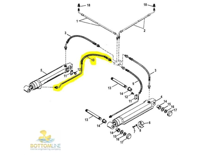 mercruiser trim cylinder hydraulic hose