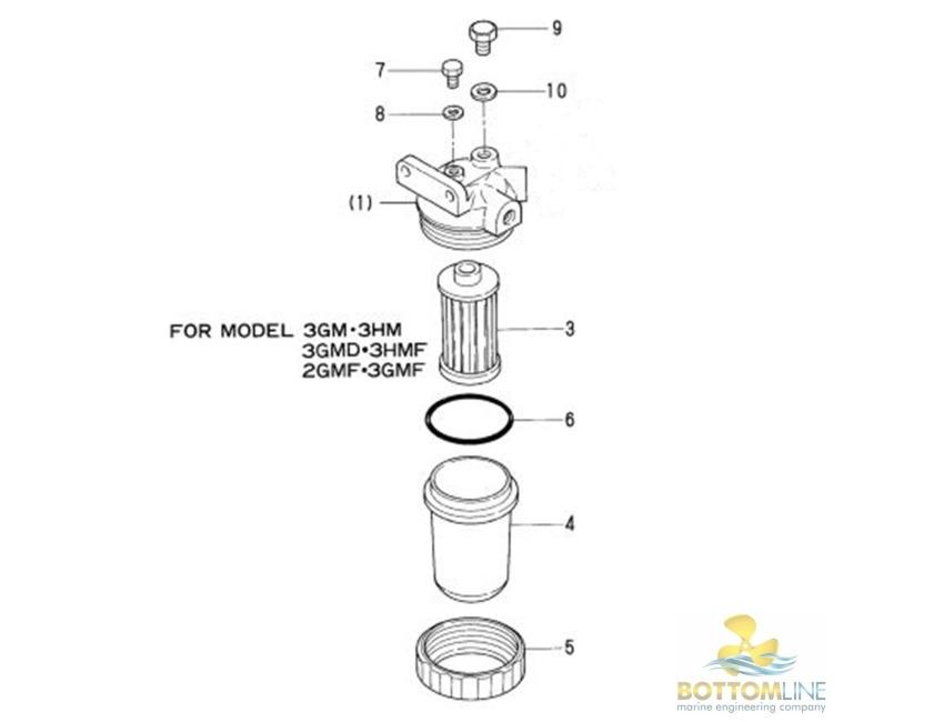 yanmar - fuel filter    strainer housing - 1gm - 2gm - 3gm - 2ym - 3ym - marine