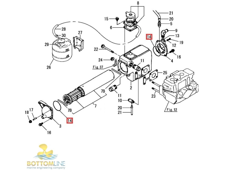 Yanmar Tractor Cooling System Parts : Genuine yanmar gm f gmf heat exchanger o